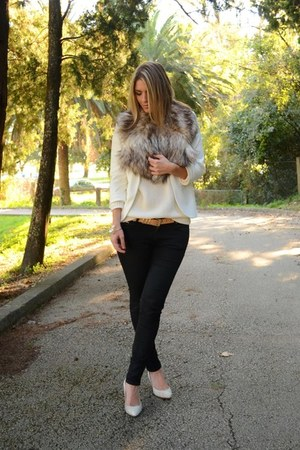 white Bershka sweater - black Zara jeans - white Sheinside blazer