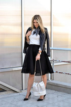 black Choies jacket - H&M scarf - cream perforated Zara bag - cream Zara jumper