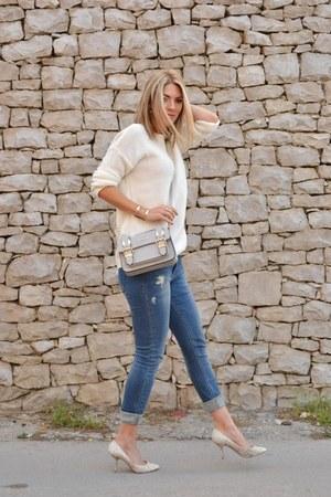 white Bershka sweater - Stradivarius jeans - silver satchel River Island bag
