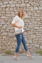 white Bershka sweater - Stradivarius jeans - silver satchel River Island bag