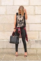 black leather look New Yorker pants - ruby red plaid Zara shirt