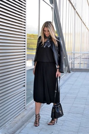 black Choies jacket - H&M scarf - black Zara bag - black Zara heels