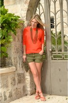 orange Zara jumper - olive green sequin Zara bag - olive green H&M shorts