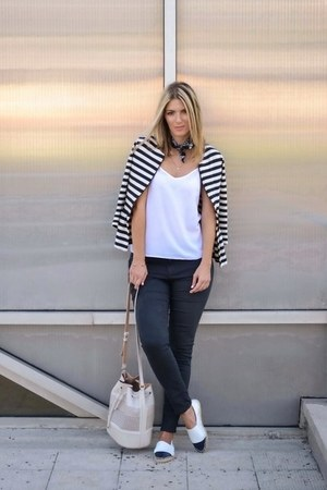navy Zara jeans - white espadrilles asos shoes - navy striped Zara jacket