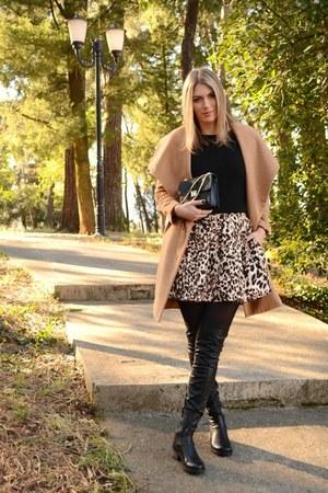 black Zara shirt - camel Sheinside coat - black Zara bag