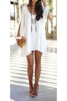 white Zara dress - maroon custom made sandals - random boutique accessories