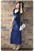 blue Minkpink Moonlight Hours Velvet Maxi dress - beige GoJane shoes - beige Tem