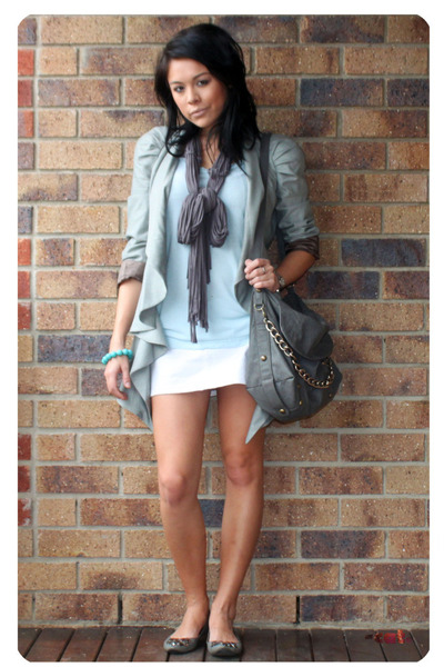 gray asos jacket - blue American Apparel t-shirt - white Lee skirt - gray hong k