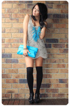 gold vintage dress - black Steve Madden shoes - turquoise blue DIY necklace