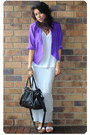 Purple-vintage-jacket-white-sportsgirl-t-shirt-heather-gray-asos-skirt-whi