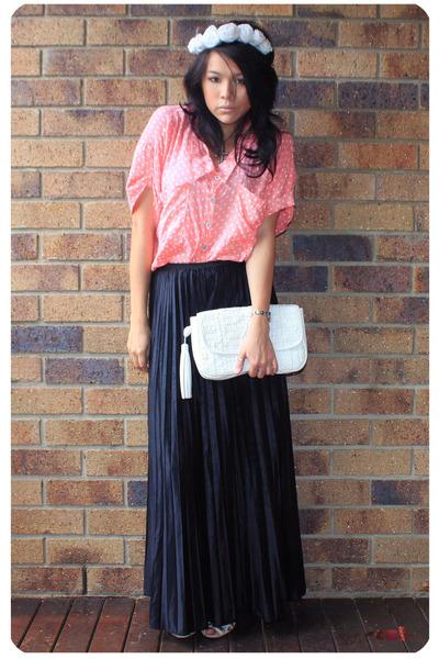 black vintage pants - bubble gum Ebay blouse - white Sportsgirl - white Sportsgi