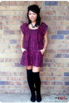 pink Silence  Noise dress - black Zara boots - black Forever 21 accessories - si