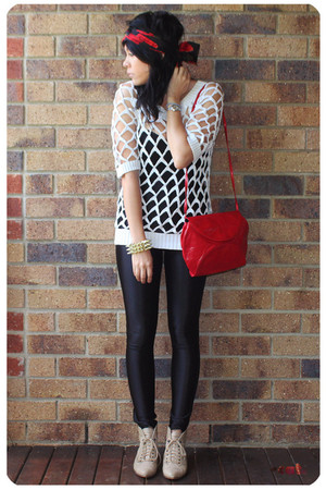 black American Apparel Disco pants - white ASOS crochet sweater - red Vintage Ch