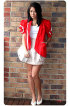 red vintage jacket - gold Miin skirt - white vintage top - white vintage shoes -