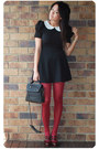 Black-asos-dress-white-ladakh-top-black-wayne-cooper-bag-maroon-mollini-he