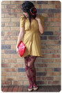 Mustard-asos-dress-brick-red-ebay-tights-red-vintage-bag-red-vintage-scarf