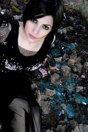 black tule with perls dress