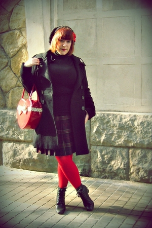 green coast coat - BLANCO sweater - vintage from Wasteland skirt - Calzedonia ti