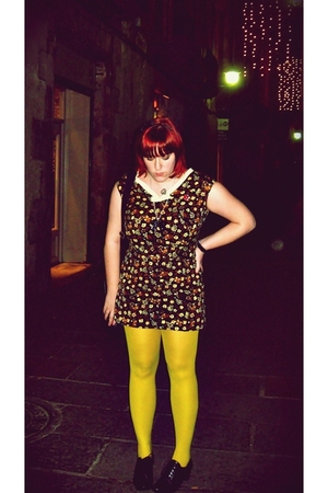 brown vintage dress - yellow Calzedonia tights - black wonders shoes