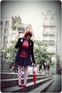 Black-stradivarius-jacket-red-zara-t-shirt-blue-handmade-skirt-white-h-m-t
