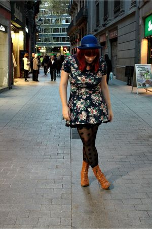 blue H&M hat - blue Zara dress - black H&M tights - brown Aces of London shoes