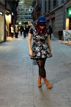 blue H&M hat - blue Zara dress - black H&M tights - brown Aces of London shoes