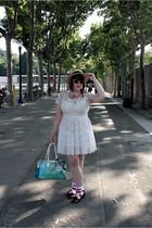 white Topshop dress - red Bimba & Lola shoes - yellow Oysho hat - pink NY sungla