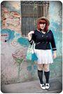 Blue-zara-cardigan-white-topshop-dress-blue-calzedonia-socks-white-vintage