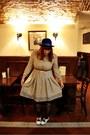 Blue-h-m-hat-ivory-vintage-costume-dress-blue-zara-tights-white-vintage-fr