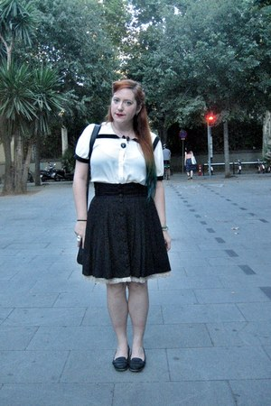 black cotton H&M skirt - off white sailor Forever 21 shirt