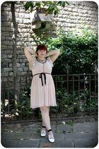 pink H&M dress - pink BLANCO socks - white vintage shoes