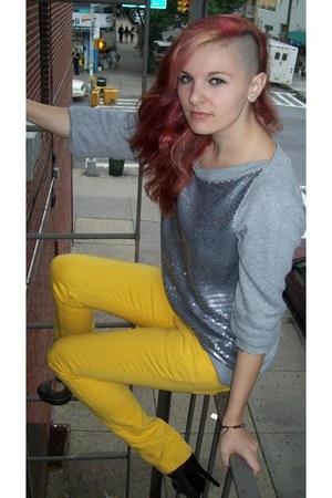 silver Ann Taylor Loft sweater - yellow Rue 21 pants