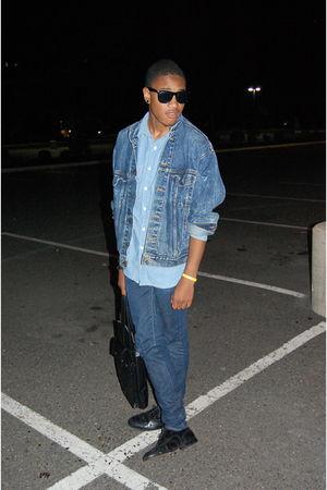 black vintage shoes - blue Levis jacket - blue shirt - blue Levis jeans