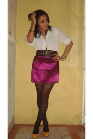white blouse - purple skirt - gold shoes - black belt