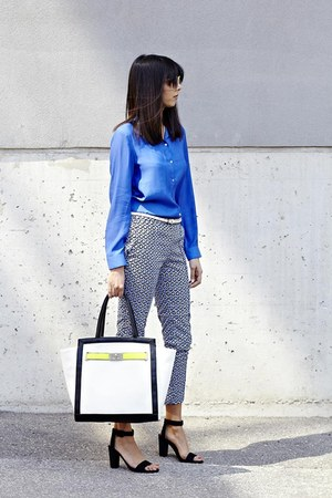 blue H&amp;M blouse - mendola tote Aldo purse - graphic H&amp;M pants