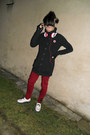 Black-new-yorker-jacket-white-montreal-shoes-red-gate-pants