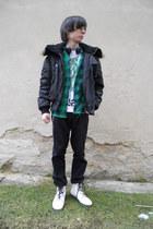 white humanic boots - black Mil-Tec coat - black Levis jeans