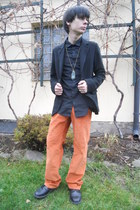 black Deichmann shoes - orange thrifted jeans - black Gap blazer