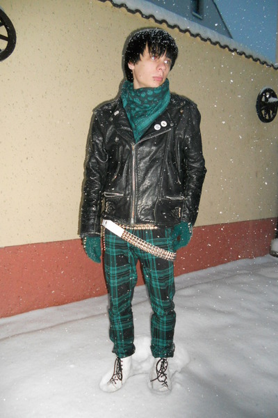 black vintage jacket - white humanic boots - teal thrifted scarf