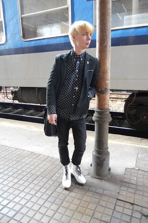 black thrifted shirt - white humanic boots - black Denim Co jeans