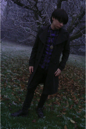 black Deichmann shoes - charcoal gray thrifted coat - black Levis jeans