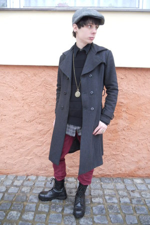 charcoal gray thrifted coat - black Pure Trash boots - ruby red New Yorker jeans