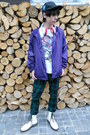 White-humanic-boots-black-etnies-hat-deep-purple-new-yorker-jacket