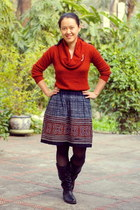 brocade skirt - black boots - burnt orange Target sweater