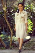 white tailored dress - ivory thrifted cardigan - dark green vintage heels