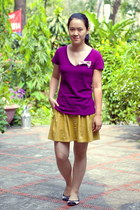magenta Forever21 t-shirt - mustard thritfted skirt - black Payless flats