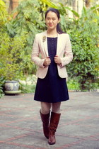 tawny Aldo boots - navy Gap dress - light pink Zara blazer