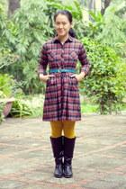 black boots - brick red plaid dress - yellow Target tights
