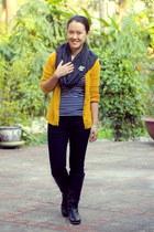 black boots - black jeans - black striped Zara shirt - gray Mango scarf