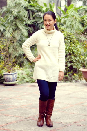 brown Aldo boots - navy Mango jeans - ivory united colors of benetton sweater